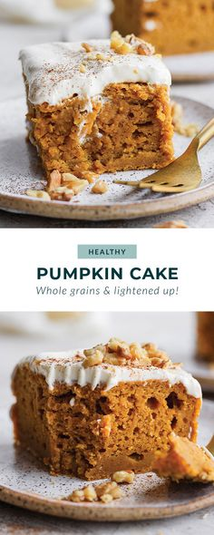 This pumpkin sheet cake is as easy as it is delicious. Packed with simple ingredients and topped with a yummy cream cheese frosting, this dessert can't be beat! Healthy Dessert Recipes, Delicious Desserts, Healthier Desserts, Keto Desserts, Healthy Baking, Healthy Cream Cheese Frosting, Soften Cream Cheese, Sheet Cake Recipes, Frosting Recipes