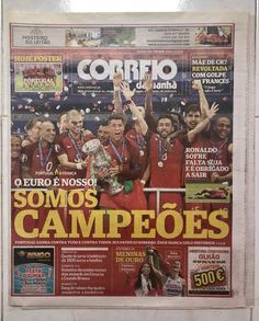 Correio da Manha (portuguese newspaper) from the day after PORTUGAL won the EURO - The newspaper includes a Poster inside (please see all pictures) The newspaper is NEW with any risks or odors Euro, Portugal, Book Collection, Cristiano Ronaldo, Champion, Football, Poster, Newspaper, Books