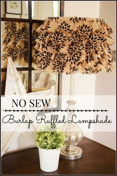 NO SEW BURLAP RUFFLED LAMPSHADE-here's an easy way to transform an old lampshade-stonegableblog