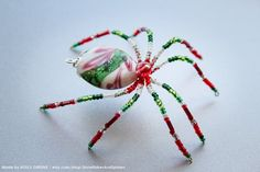 Items similar to Red Green and White Lampwork Holiday Christmas Spider Beaded Tree Holiday Ornament w/ Christmas Tree Legend on Etsy Insect Jewelry, Diy Jewelry, Jewelry Making, Jewellery, Beaded Christmas Ornaments, Christmas Decorations, Christmas Spider, Christmas Holiday, Christmas Ideas
