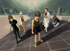 Gundam Wing ~~ Inside one of the colonies, our five heroes find a moment to pose dramatically. Wow...