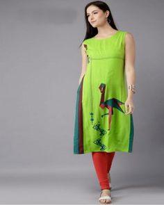 b17f983832 Buy Moda Rapido Women Lime Green Printed Kurta online in India at best  price.ime Green printed kurta , has a round neck, sleeveless, side slits.  Ujiba