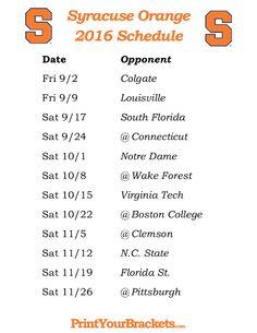 Printable Syracuse Orange Football Schedule 2016
