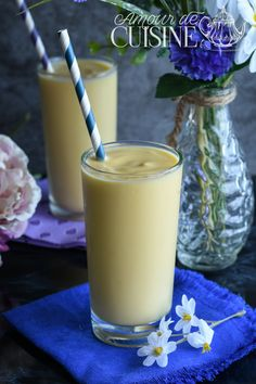 lassi de mangue - Amour de cuisine Granita, Lassi, Best Cookie Recipes, Glass Of Milk, Almond, Vanilla, Cookies, Chocolate, Drinks