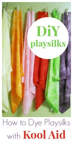 Have you tried dyeing with Kool Aid yet? The vibrant Kool Aid colors make wonderful DiY playsilks for kids. The color from our 6yo set is still holding up!