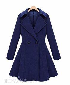 Temperament Blue Tailored Collar Woolen Overcoat