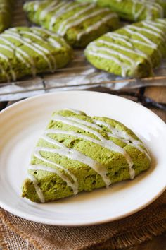 Matcha Green Tea Scones with Vanilla Bean Icing