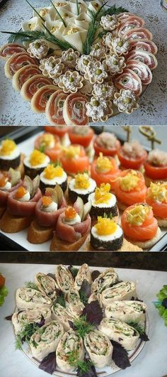 Snacks Für Party, Appetisers, Finger Foods, Sushi, Deserts, Food And Drink, Cooking, Ethnic Recipes, Buffets