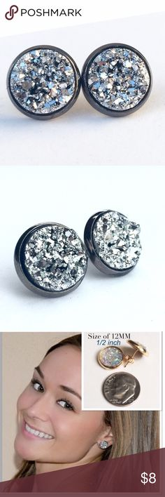3 for 15🎀bright silver faux druzy gunmetal studs New! Handmade by me 1/2 inch, chunky silver 12mm faux acrylic druzy in Gunmetal tone earrings. Gunmetal backings. PRICE FIRM if purchasing 1 pair. No trades.  ➡️TO GET 3 FOR 15 deal⬅️ ✅Click Add to Bundle under any 3 items (marked 3 for 15) ✅Make offer for $15 ✅I'll accept your offer ✅ Additional items $5 each so 4 pairs=$20, 5 pairs=$25, etc. If you need help, let me know 😊 thejeweladdict Jewelry Earrings