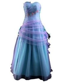 Winey Bridal Tulle Lilac Blue Long Flower Evening Prom Formal Dresses