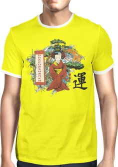 A Geisha and Koi in Dhaporshankh Garden - Dhaporshankh Guys Ringer Tee