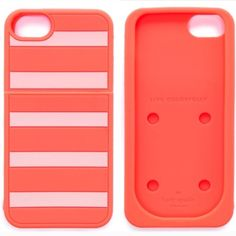 Kate Spade iPhone 5/5s Case Orange striped iPhone case was only used a few times and is in great condition ✨ kate spade Accessories Phone Cases