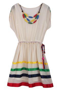 Apricot Short Sleeve Drawstring Waist Striped Dress US$53.23