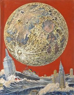 """Apocalyptic New York"" by Frank R. Paul.  Cover for Feb. 1933 issue of Wonder Stories.  ."