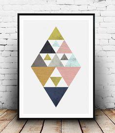 Imprimer des triangles affiche géométrique design par Wallzilla