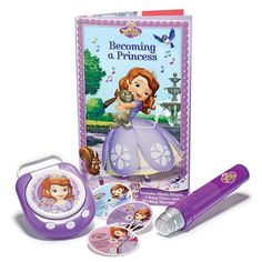 "Sofia the First Music Player Book with Microphone. Sing or read along with Princess Sofia with this adorable set. Book, 12"" L. Microphone, 9"" L. Music player, 5 1/2"" W x 6 1/2"" L. Ages 3 and up. Uses 3 AG13 (microphone) and 2 AA (music player) batteries (not included). Paperback, plastic. Imported. ©Disney"