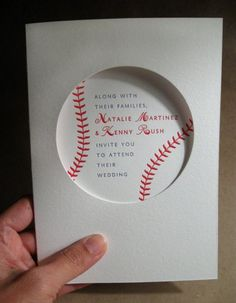 Baseball Themed Wedding http://www.etsy.com/listing/42322206/baseball-wedding-invitation-sample