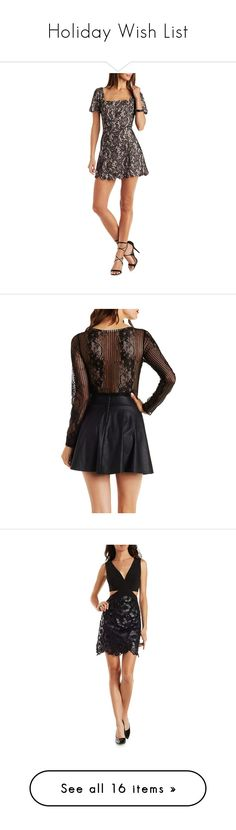 """Holiday Wish List"" by charlotterusse ❤ liked on Polyvore featuring dressy, holidays, dressedup, CharlotteLook, dresses, black combo, scalloped dress, black lace dress, a line cocktail dress and short sleeve cocktail dress"