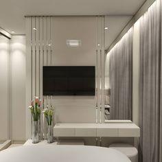 Apartamento A|J - Suíte Casal . . . . . Painel da TV com frisos espelhados, um espaço para maquiagem e porta em espelhos do guarda roupa, são os destaques dessa suíte do casal.  Projeto:@alexsandro.arq 3D: @alexsandro.arq Bathroom Lighting, 3d, Mirror, Furniture, Home Decor, Makeup Holder, Mirrors, Wardrobe Closet, Environment