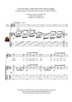 La Vie En Rose guitar solo sheet music La Vie En Rose, for classical or acoustic guitar solo, with tablature and downloadable mp3 for audio help.