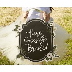 "Romantic Garden ""Here Comes The Bride"" Sign (€13) ❤ liked on Polyvore featuring home, outdoors, outdoor decor, garden decor, garden signs, garden patio decor and outdoor garden decor"