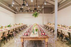 modern Atlanta reception with hanging florals