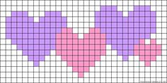Bead Patterns for Loom Work or Square Stitch ___ Hearts perler bead pattern Cross Stitch Heart, Beaded Cross Stitch, Cross Stitch Embroidery, Bead Loom Patterns, Beading Patterns, Cross Stitch Patterns, Knitting Charts, Knitting Patterns, Crochet Patterns