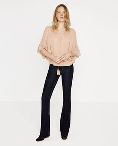 2400f3fe Image 1 of BLOUSE WITH GATHERED NECKLINE from Zara Zara 2016, Zara Damen,  Germany