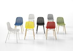 Polycarbonate ABS shell Curved-back Iroko legs painted black Seat Height 476mm Width 454mm Depth 547mm Lead times 4-6 weeks Minimum order 10 pcs All Prices Exclude VAT and Delivery