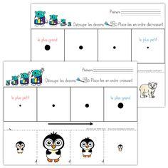 Fichiers PDF téléchargeables Versions en couleurs et en noir et blanc 2 pages par fichier Les manchots doivent être découpés et placés en ordre croissant sur la première page. Les ours de la deuxième page doivent être placés en ordre décroissant.