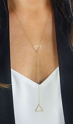 Gold Lariat Bar Necklace