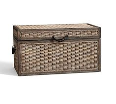 Merrick Woven Trunk #potterybarn coffee table/storage option cushion on top for seating