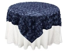 """72x72"""" Navy Blue SATIN Raised Roses TABLE OVERLAYS Unique Wedding Party Toppers"""