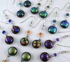 Fused glass dichroic earrings are - Ellinwood Studios