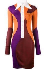 Givenchy Woman Color-block Crepe Mini Dress Orange In 243 Dark Brown/rust Jersey Mini, Anchor Dress, Givenchy Women, Brown Dress, Dress Red, Viscose Dress, Panel Dress, Contrast Collar, Collar Dress