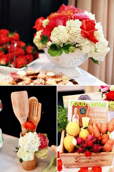 Creative Kitchen Themed Bridal Shower/Party/Bachelorette Party Creswell Burgess I like this idea with sparkling cider and food kitchen party Bridal Party Tables, Bridal Shower Centerpieces, Bridal Decorations, Party Wedding, Wedding Gifts, Wedding Cakes, Simple Bridal Shower, Bridal Shower Favors, Kitchen Decor Themes