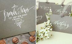 Nancy Hopkins grey lettered envelope and place cards