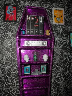 monster high doll house coffin book shelf my daughter laughed cuz i made some twilight books but i had to add a little of me to it