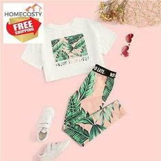 SHEIN Kiddie Girls Letter And Plants Print Tee With Leggings Boho Two Piece Sets 2019 Summer Short Sleeve Skinny Kids Outfits – nooncart Teenage Outfits, Kids Outfits Girls, Girls Fashion Clothes, Sporty Outfits, Cute Outfits For Kids, Cute Summer Outfits, Teen Fashion Outfits, Cute Casual Outfits, Cute Stuff For Girls