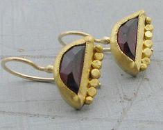 Gold Garnet Earrings - 22k Gold Earrings - Solid Gold & Garnet Earrings - Bridal Gold Earrings