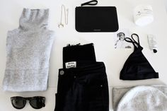in the alps // Mirjam from www.jeneregretterien.ch is wearing ACNE STUDIOS black jeans | BENETTON cashmere turtleneck (old, similar here) | CÉLINE 'Pretty' sunnies | CHLOÉ 'Isalis' necklace | MANSUR GAVRIEL clutch | COS bikini (last season) | BIG SHOTS! HENRY CAROLL | & OTHER STORIES 'Cotton Care' hand cream and body scrub| COS cashmere beanie