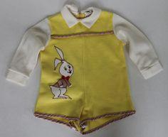 Vintage 60s Baby Boy Pert N Sassy Bunny One Piece Short Romper Long Sleeve | eBay #vintage #vintagebaby #vintagebabyclothes #pertnsassy #1960s #60s #romper #onepiece #babyboy #vintageboy