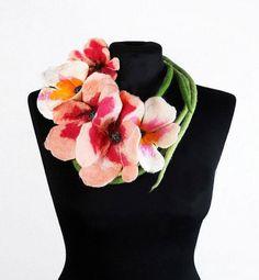 Felted Collar ALICE IN WONDERLAND felt Necklace Felted Flower art jewerly nunofelt Nuno felt collar Art deco silk Fiber Art boho