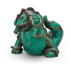 ** Wilhelm Kåge stoneware figure of a dragon puppy, Gustavsberg Studio, ca 1940.