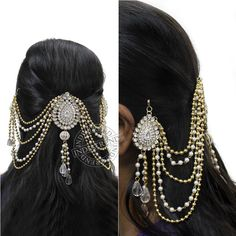Shop for traditional Indian and Mughal Jewelery Bridal Hairdo, Bridal Headpieces, Head Chain Jewelry, Hair Decorations, Wedding White, Jada, Receptions, Indian Bridal, Pearl Beads