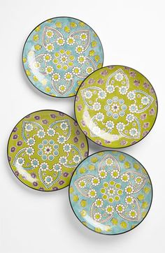 Set of 4 smashing hand-painted plates. ~ Vagabond Vintage 'Lotus' Plates (Set of available at Pottery Painting, Ceramic Painting, Ceramic Tableware, Ceramic Pottery, Plates And Bowls, Plates On Wall, Hand Painted Plates, Decorative Plates, Moroccan Plates