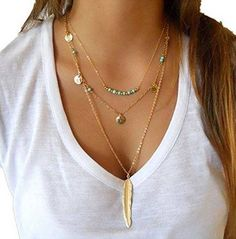 Gorgeous beaded multi-layer necklace with feather pendant - perfect for festival season! 3 layer necklace Gold chain with feather pendant Turquoise beading and coin details Feather Necklaces, Leaf Necklace, Necklace Types, Boho Necklace, Boho Jewelry, Fashion Necklace, Pendant Necklace, Jewelry Necklaces, Fashion Jewelry