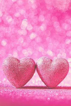 Two Hearts Wallpaper. #hearts #love #bokeh #girly #iphone #wallpaper