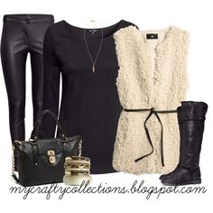 Women's Outfit - faux leather pants, black shirt, faux fur vest, Michael Kors bag, bangle set, and black boots. I love this outfit, especially the boots!