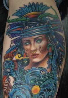 Aztec Moon Goddess Tattoo | Art that inspires | Aztec ...
